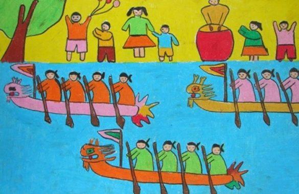vẽ tranh đề tài lễ hội đua thuyền