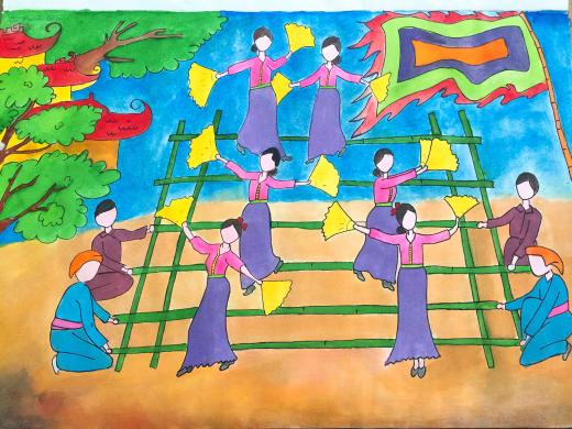 vẽ tranh đề tài lễ hội múa sạp