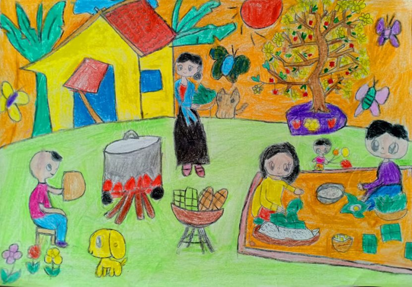 vẽ tranh đề tài lễ hội thổi cơm ngày Tết vào mùa xuân
