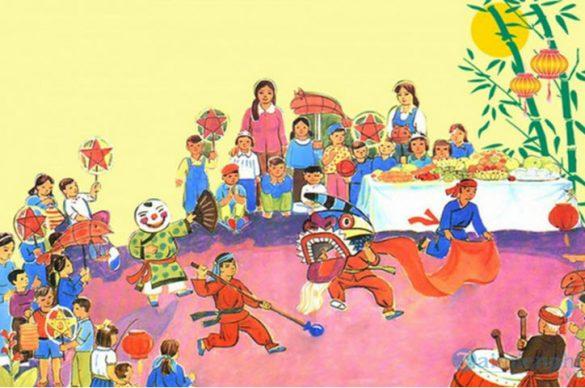 vẽ tranh đề tài lễ hội trung thu