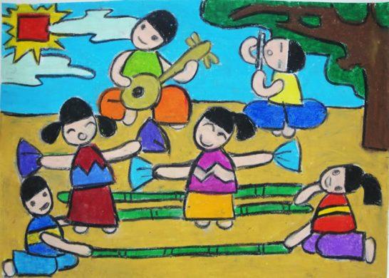 vẽ tranh lễ hội múa sạp
