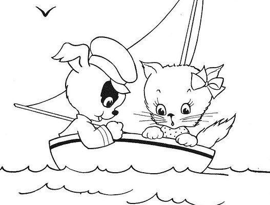 ảnh vẽ đen trắng mèo và chó dễ thương trên thuyền buồm