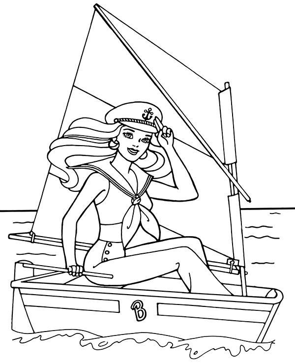 ảnh vẽ thuyền buồm và nữ thủy thủ xinh đẹp