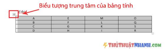 bieu tuong trung tam cua bang tinh trong word