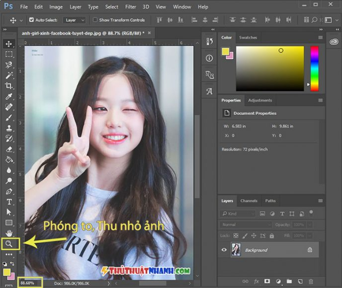 cach phong to thu nho anh trong photoshop