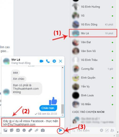 inbox voi tung nguoi tren facebook