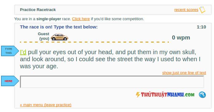 kiem tra toc do danh may tinh tren website Typeracer