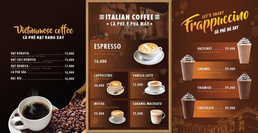 mau menu cafe Italia