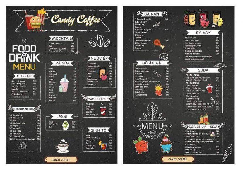 menu quan candy coffee