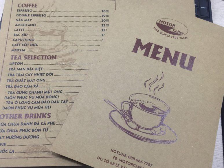 menu quan coffee dep don gian