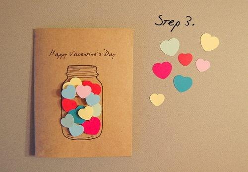 thiep valentine handmade trai tim trong lo thuy tinh