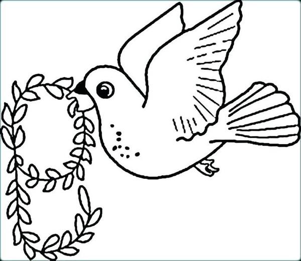 tranh to mau con chim bo cau ngam vong hoa