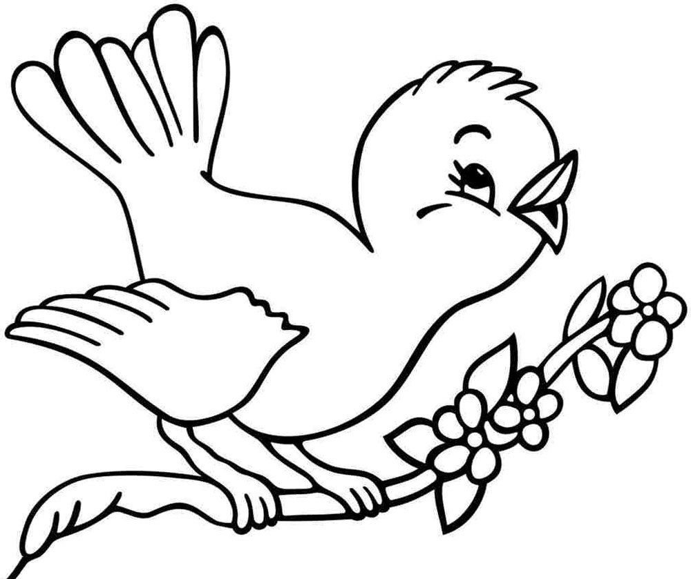 tranh vẽ đen trắng về con chim đang hót