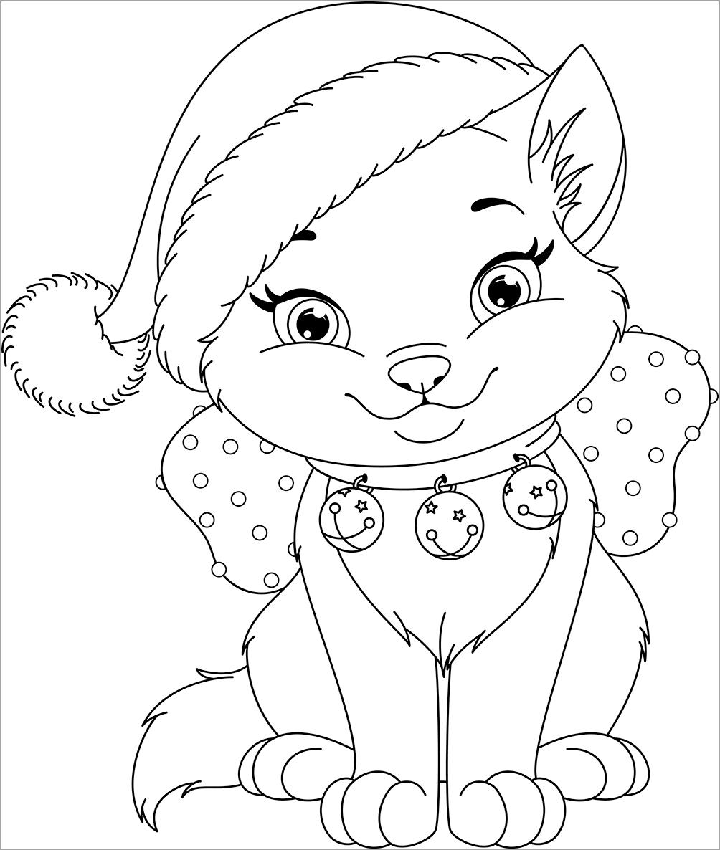 tranh to mau ảnh mèo đeo lục lạc và đội mũ Noel đón giáng sinh ấm áp, an lành