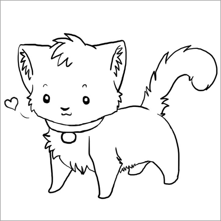 tranh vẽ chú mèo dễ thương