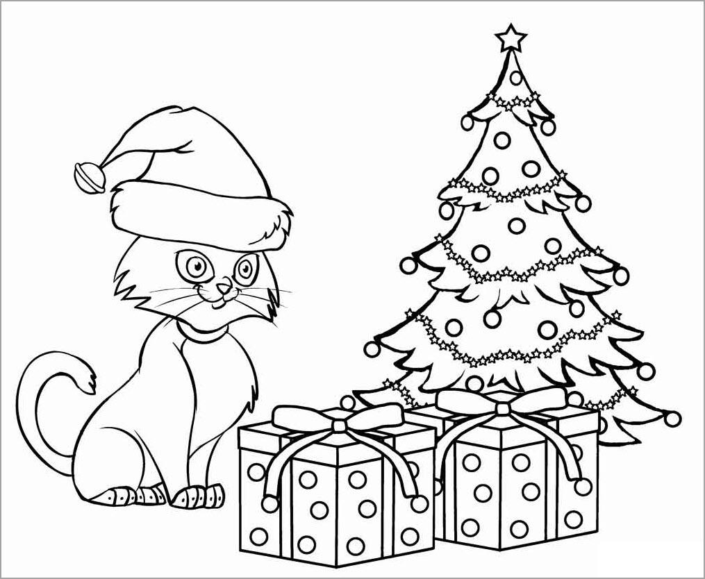 hình tô con mèo bên hộp quà giáng sinh
