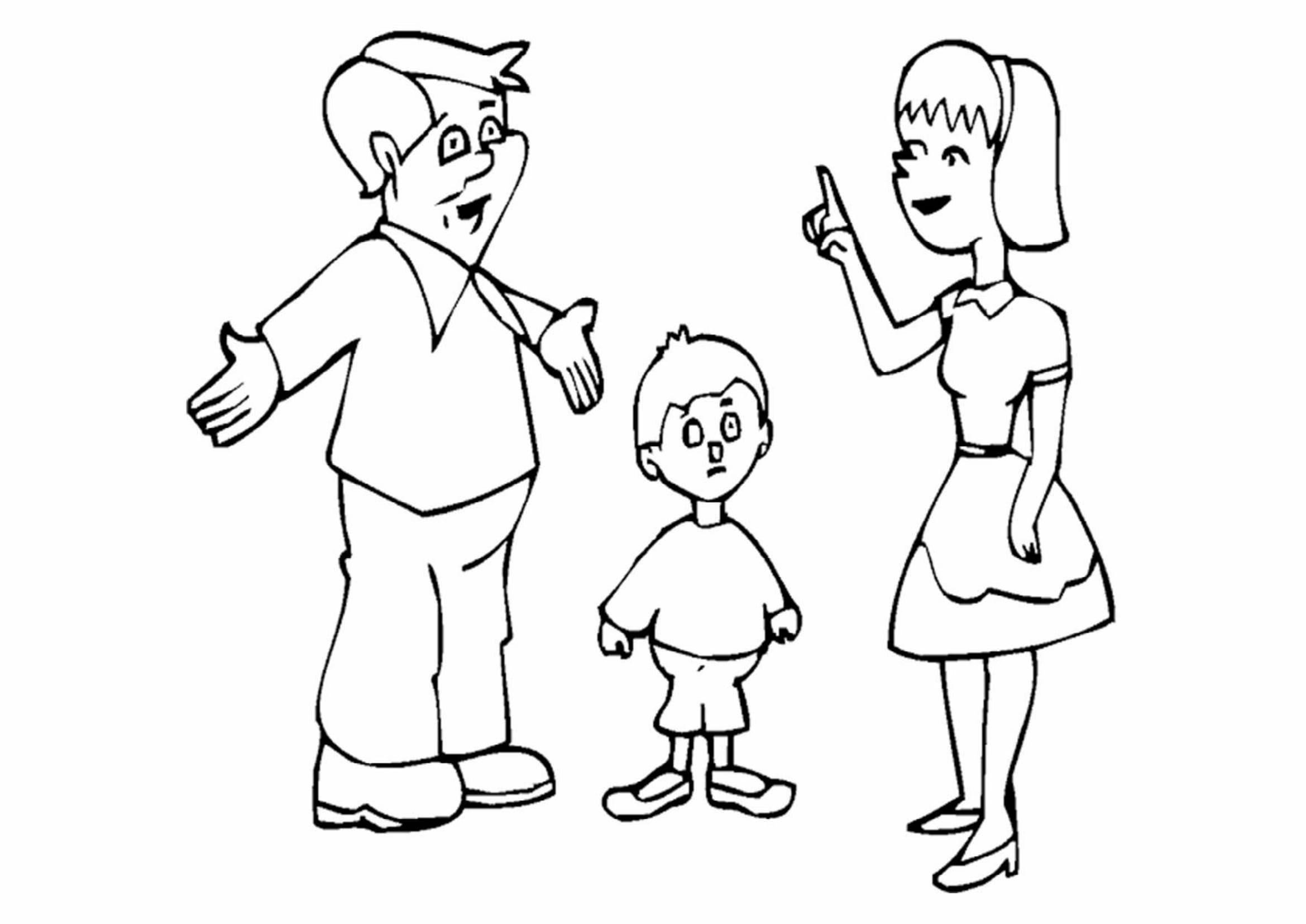 Tranh gia đình 3 người dành cho các bé mầm non tô màu
