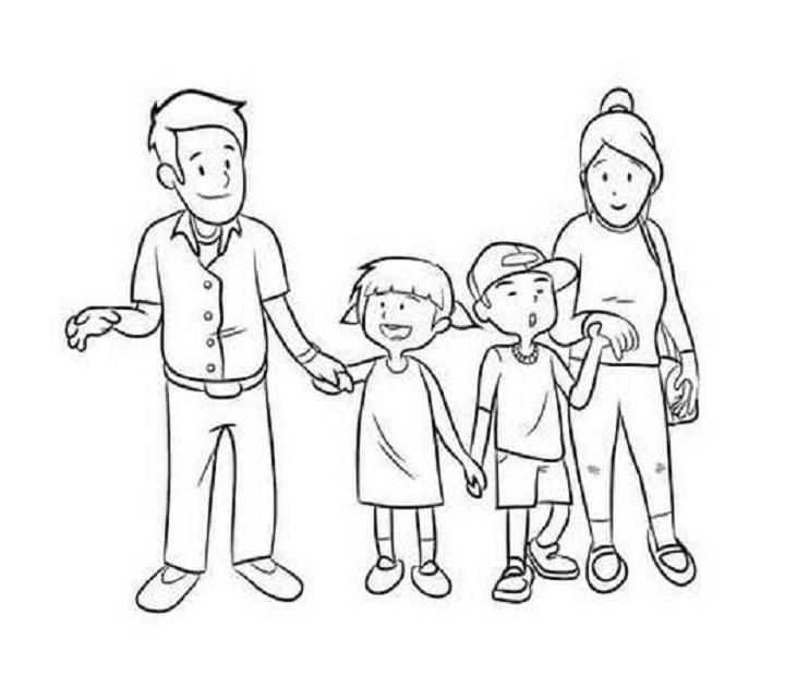 Hình ảnh gia đình đi chơi rất vui vẻ và hạnh phúc