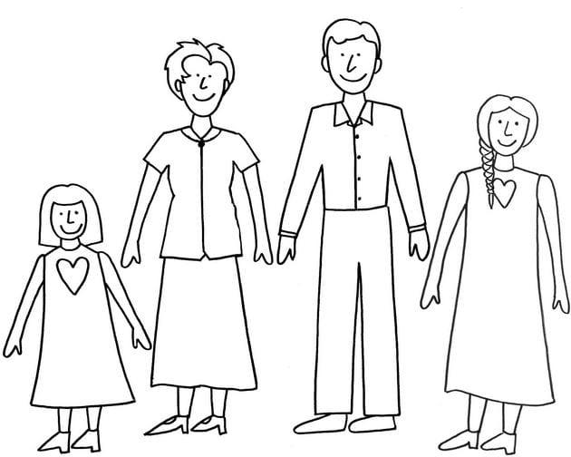 Bức tranh gia đình 4 người cho bé tập tô màu