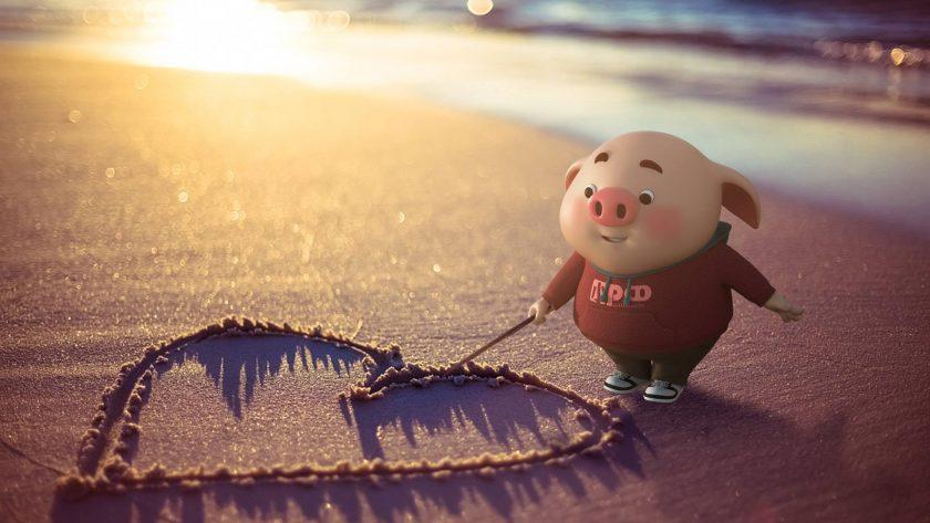 ảnh nền bé heo vẽ trái tim tình yêu dễ thương kute