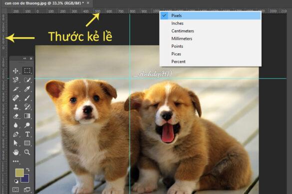 công cụ thước kẻ lề trong photoshop