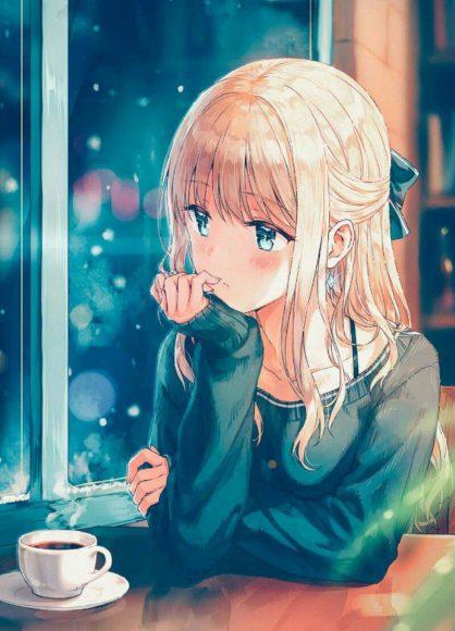 hinh anime girl buon ben ly cafe
