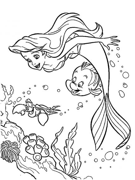 Hình nàng tiên cá đang bơi cùng chú cá bé nhỏ cho bé tập tô