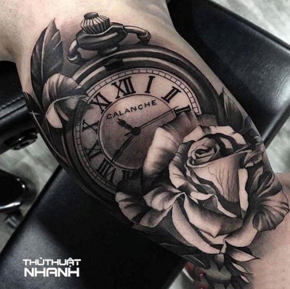 hình xăm hoa hồng đồng hồ