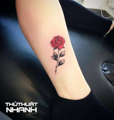 hình xăm hoa hồng mini ở bắp chân