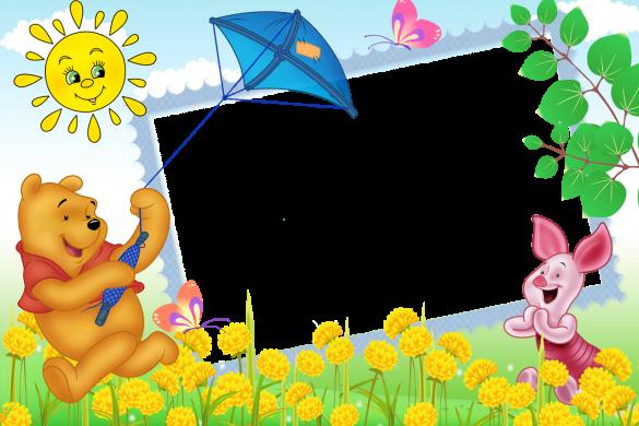 khung ghép ảnh với hình vẽ hoạt hình dễ thương