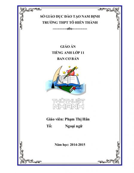 mẫu bìa giáo án THPT
