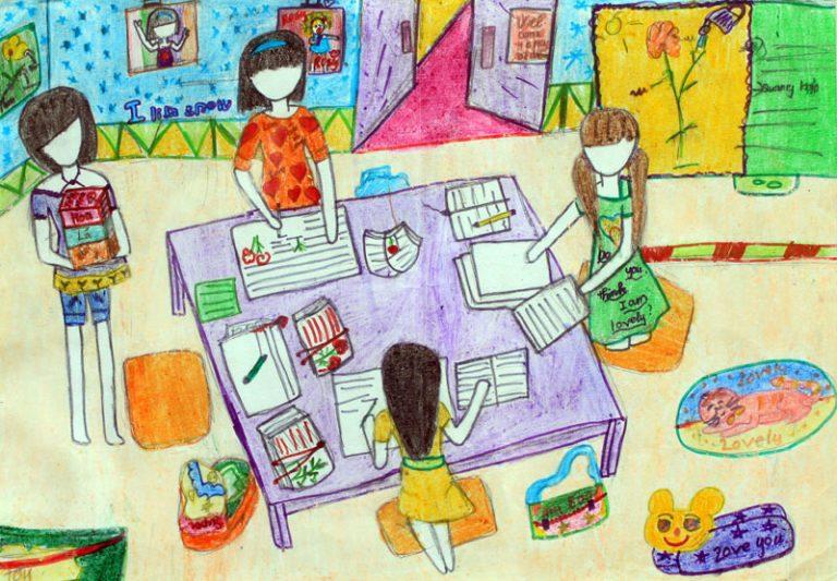 tranh đề tài học tập lớp 6 đẹp nhất