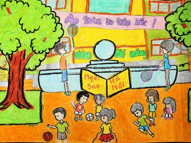tranh vẽ đẹp nhất về đề tài học tập vui chơi sân trường