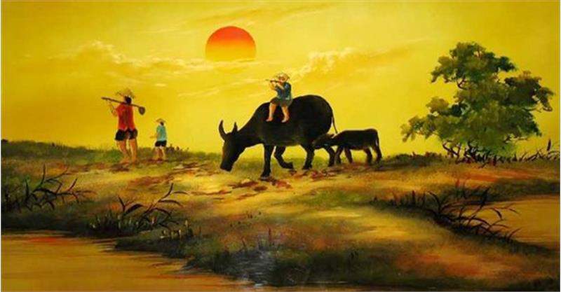 tranh vẽ làng quê Việt Nam