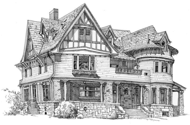 tranh vẽ ngôi nhà biệt thự