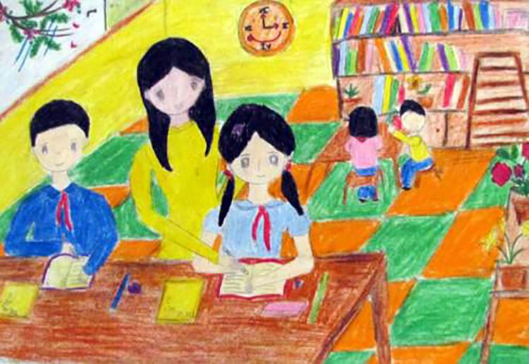 tranh về đề tài học trên lớp đẹp và ý nghĩa