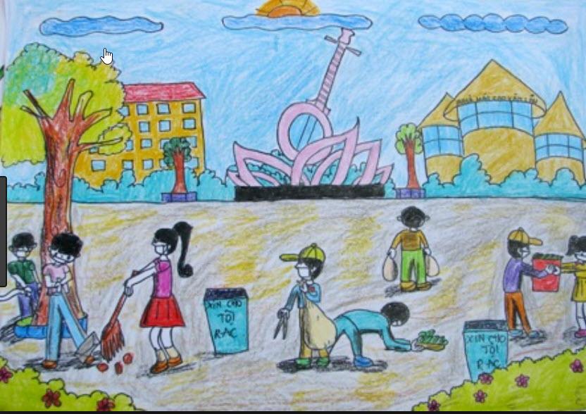 tranh vẽ đẹp nhất về dọn dẹp vệ sinh sân trường