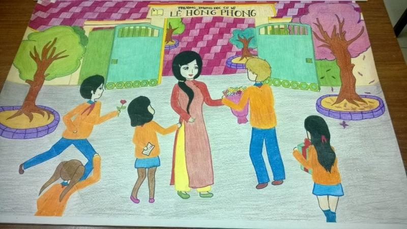 tranh vẽ về ngày kỷ niệm học sinh tặng hoa thầy cô giáo