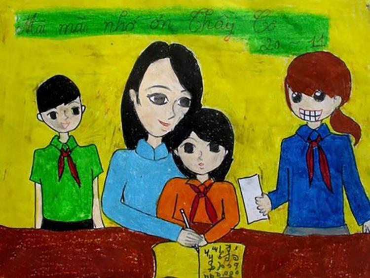 vẽ tranh đẹp về đề tài trường lớp ý nghĩa