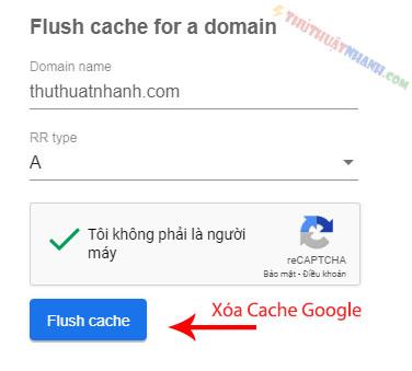 xoa cache dns google