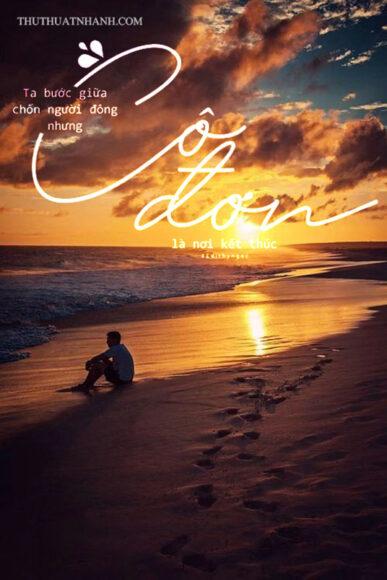 ảnh cô đơn của người con trai bên bờ biển