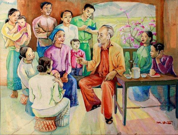 bác hồ trò chuyện cùng đồng bào của hội họa sĩ xứ Nghệ