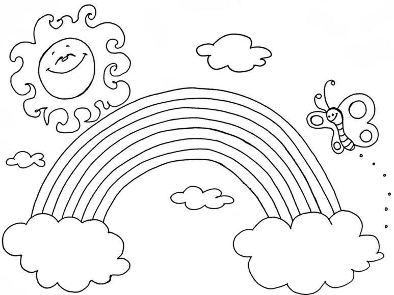 bức tranh tô màu cầu vồng ông mặt trời vui tính và chú bướm dễ thương