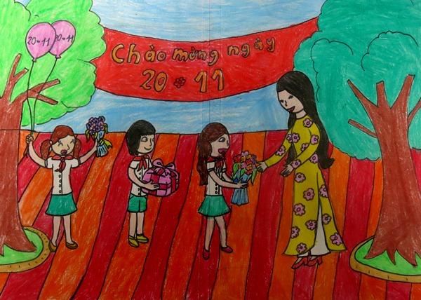 các em học sinh tặng hoa và quà tới cô giáo thân yêu