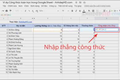 cách nhập công thức toán học vào ô tính trên google sheets
