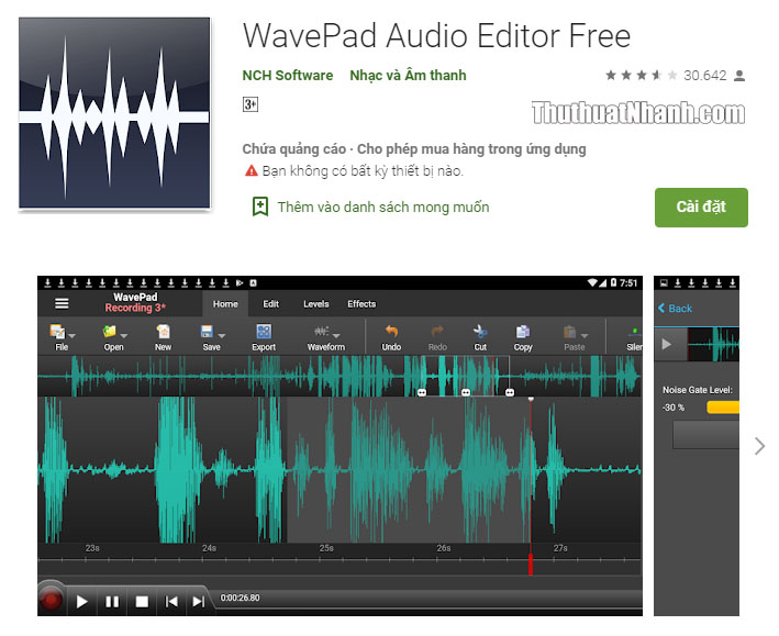 chinh sua am thanh tren smartphone WavePad Audio Editor
