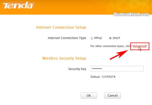 click advanced để thay đổi tên wifi tenda