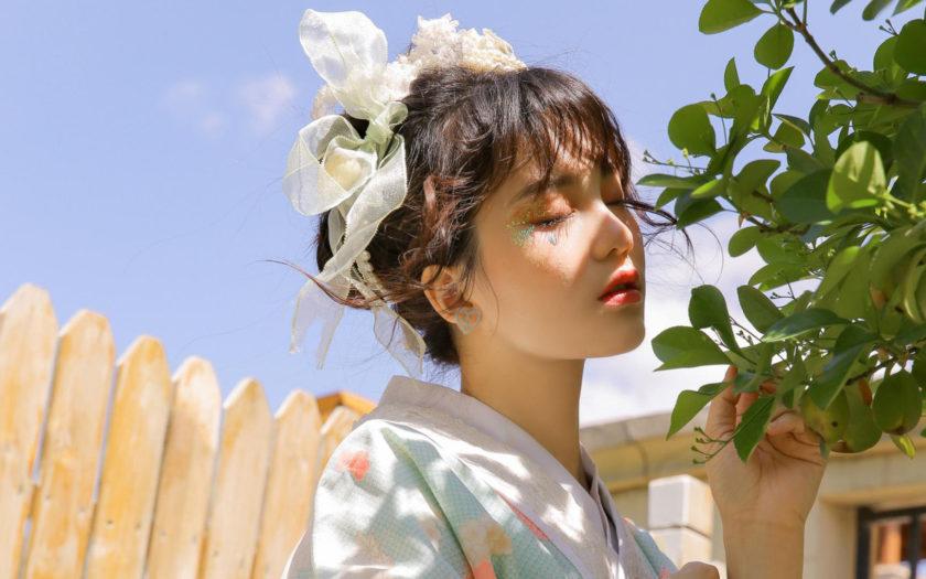 hinh con gai Nhat Ban xinh dep trong trang phuc Kimono