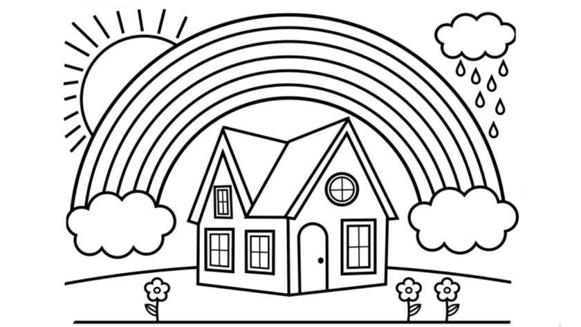 hình tô màu cầu vồng và ngôi nhà của bé
