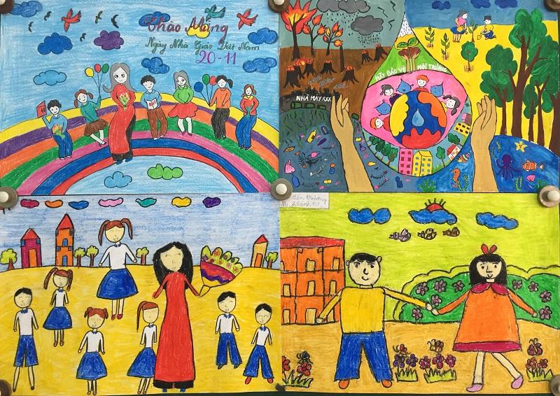 hình vẽ bút màu sơn dầu về đề tài 20-11